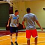 Justin Mazzulla (left) working out with his brother Joe.