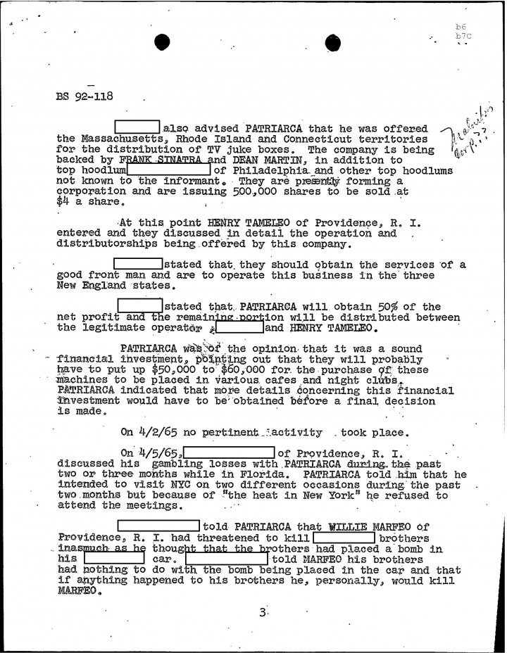 fbi files the patriarca papers entry  page 88
