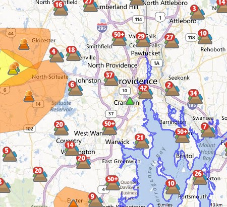GoLocalProv LIVE MAP Power Outages Across RI - National grid power outage map ri