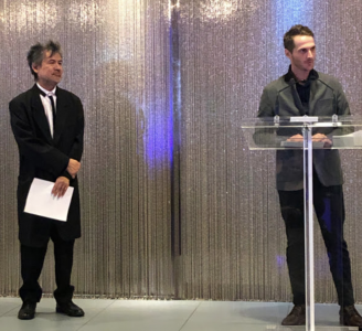 Tony Award-winning playwright David Henry Hwang (left) and Artistic Director Josh Short (right).