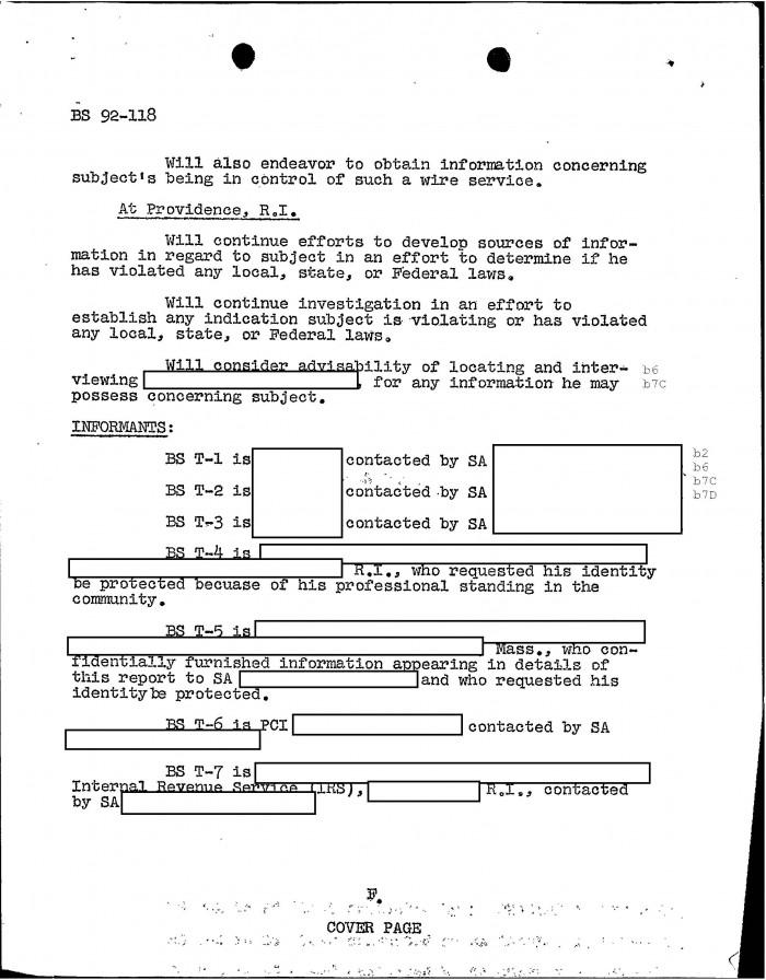 GoLocalProv   FBI Files - The Patriarca Papers - Entry 21