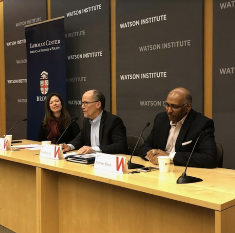 Taubman Center Director Susan Moffitt (left) hosted the discussion between Tom Perez (middle) and Michael Steele (right) at Brown University on Monday.